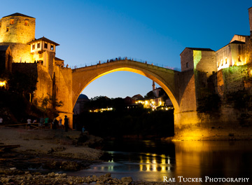 In Mostar, BiH, early evening falls on the old bridge, or Stari Most
