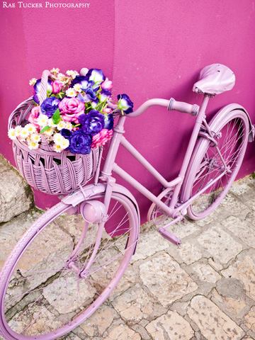 A pink bicycle with a basket full of pink and purple flowers