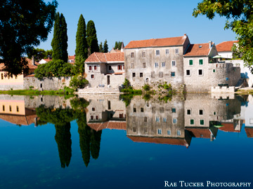 Reflections of the old town in the river in Trebinje in the Repbulic of Srpska
