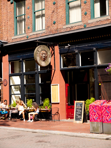 Cafe in Vancouver's historical Gastown district