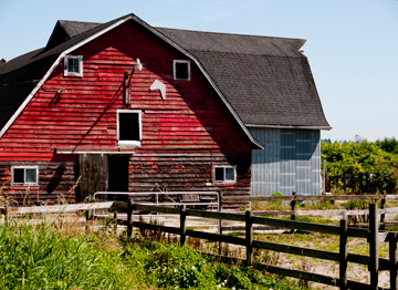 A red barn in British Columbia, Canada