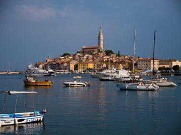 The old town of Rovinj adorns the Adriatic Sea.