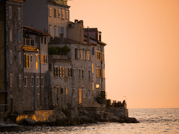 Sunset glow on the stari grad of Rovinj, Croatia