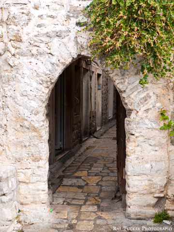 Entrance to the city walls in Budva, Montenegro