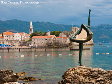 A statue in front of the old town of Budva, Montenegro