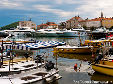 A marina in front of the old town in Budva, Montenegro