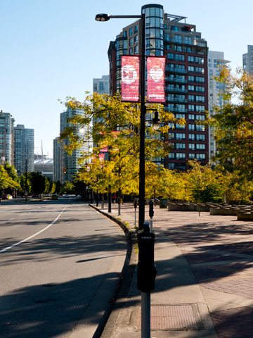 Pacific Street runs through the neighborhood of Yaletown in Vancouver, British Columbia, Canada