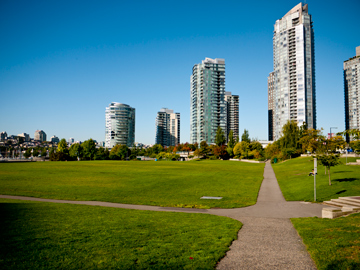 Paths run throughout David Lam Park in Vancouver, British Columbia, Canada