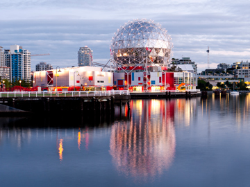 Science World sits at the end of False Creek in Vancouver, Canada