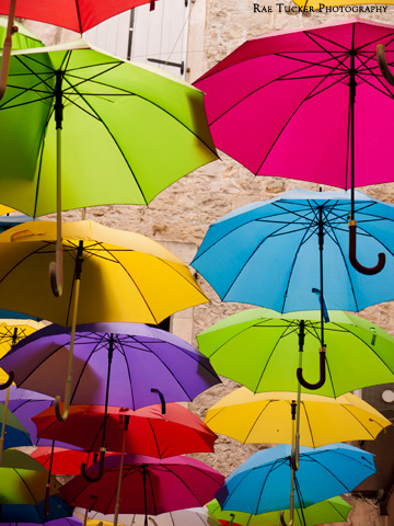 Bright, colorful umbrellas