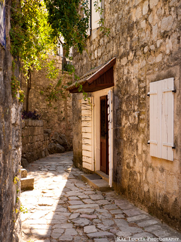 A small stone street in Perast, Montenegro