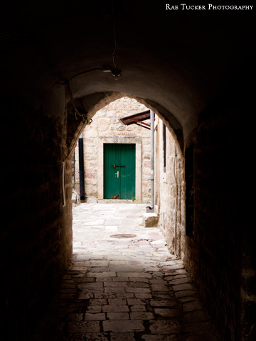 A dark stone tunnel leads to a green door