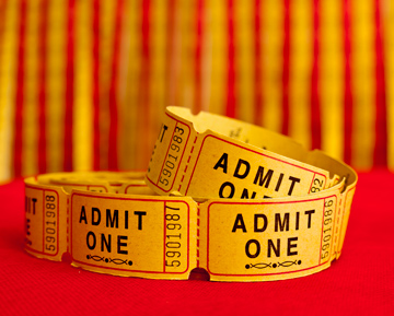 Yellow admit one tickets for a film festival