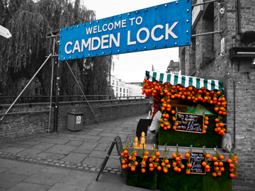 Camden Lock market entrance in London