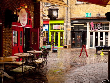 An eating area in the Stables Market in Camden Town