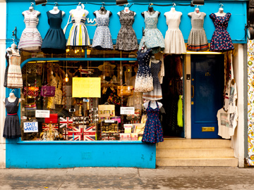 A vintage dress shop along Portebello Road in London