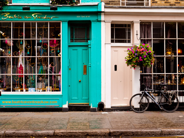 Store fronts on Portebello Road in London, England