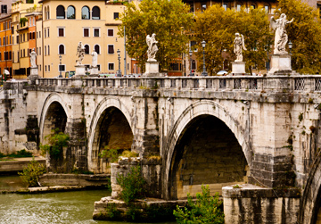 Ponte Sant'Angelo, a bridge in Rome, Italy that stretches over the Tiber River