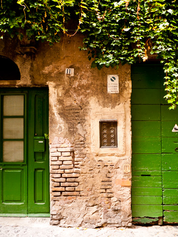 Green doors in Rome, Italy