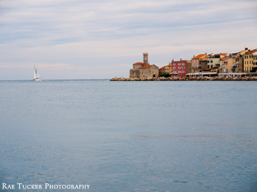 A sail boat headed to the tip of the Piran peninsula in Slovenia