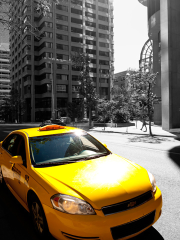 Big Yellow Taxi - a yellow taxi cab in Calgary, Alberta