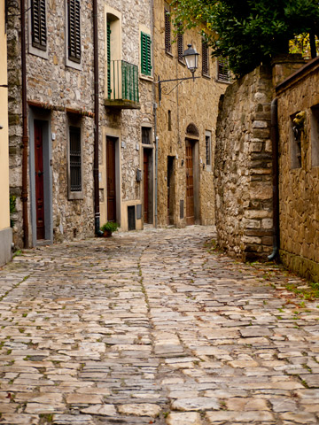These medieval stones make the town on Montefioralle in Italy.