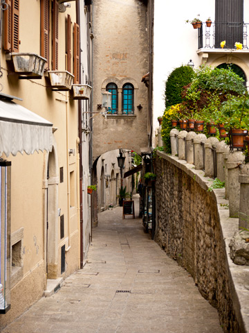 A small street winds the the city of San Marino