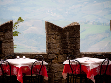 A patio with a view in San Marino