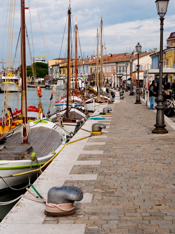 A walkway along the canal in Cesenatico, Italy