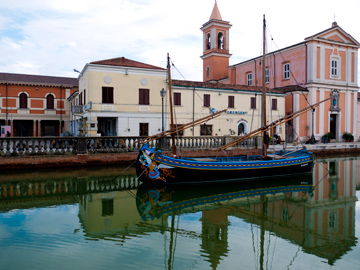 Along the canal in Cesenatico, Italy