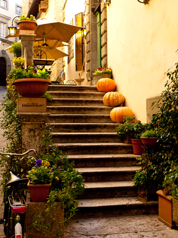 Autumn decorated stairs in Cortona, Italy