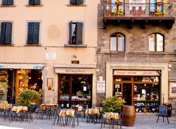 A patio in the main square of Cortona, Italy