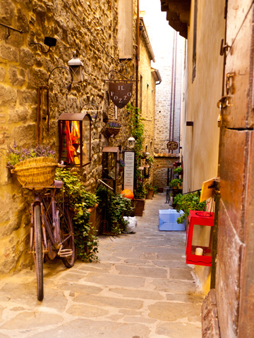 Plants, a bicycle, lanterns and other objects litter a street in Cortona, Italy