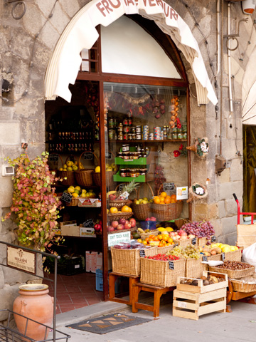 Produce on sale in Cortona, Italy