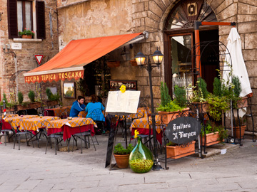 A restaurant patio serving typical tuscan food in Montepulciano, Italy