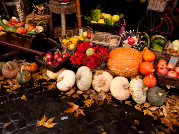 Autumn produce displayed in a market in Rome, Italy