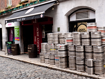 Beer kegs on a sidewalk in Dublin, Ireland