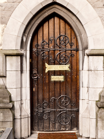 A wooden door at Christ Church Cathedral in Dublin, Ireland