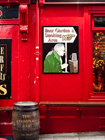A red framed pub in Dublin, Ireland