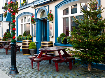 A Christmas decorated patio in Dublin Ireland