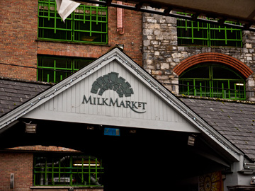 The sign over the entrance of the Milk Market in Limerick, Ireland