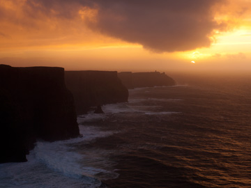 A winter sunset over the Cliffs of Moher in Ireland.