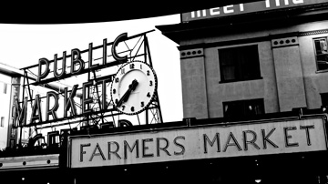 The Farmers Market sign at Pike Place Market in Seattle, Washington