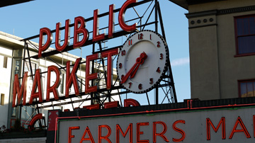 The Public Market sign at Pike Place Market in Seattle, Washington