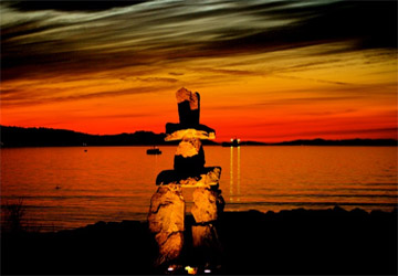 A popular Inukshuk found at English Bay in Vancouver, BC