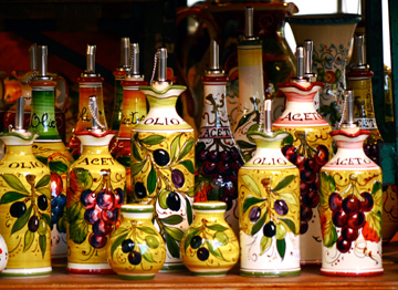 Tuscan style ceramics displayed in Florence, Italy