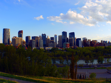 The downtown Calgary skyline as seen from the Crescent Heights Hill