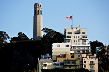 Coit Tower, a monument to the cities firefighters, sits atop Telegraph Hill in San Francisco, California