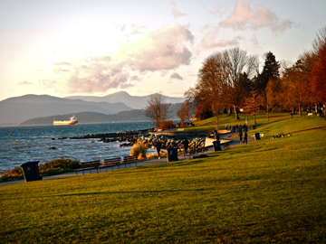 A grassy stretch of the seawall at English Bay in Vancouver, BC