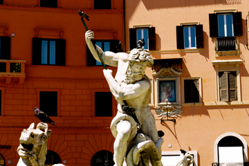 Neptune Fountain in Piazza Navona in Rome, Italy